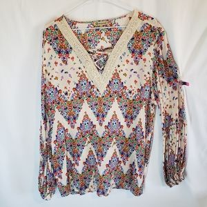 Democracy boho style blouse with bubble sleeve XL